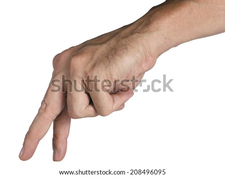 male hand walking isolated concept close up
