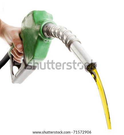 Male hand wasting gas with green pump isolated on white - stock photo