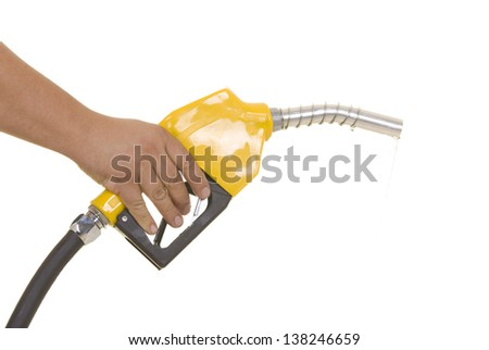 Male hand wasting gas with yellow pump isolated on white - stock photo