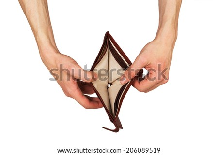 Male hand with an empty wallet isolated on white background - stock photo