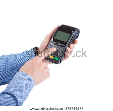 Male hand with blue sleeves dials pin code on pin pad of card machine (pos terminal) with inserted blank white credit card isolated on white background - stock photo