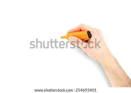 Male hand with colorful marker isolated on white - stock photo
