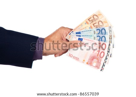 male hand with euro  banknotes on a white background - stock photo