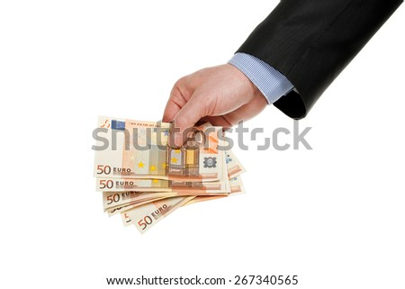male hand with fifty-euro banknotes isolated on white - stock photo