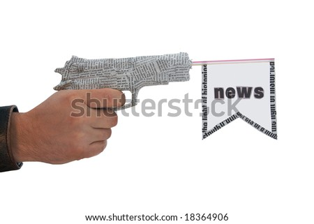 male hand with fire a shot newspaper pistol and flag on white background.fake - stock photo