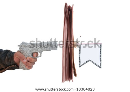 male hand with fire a shot newspaper pistol and flag with break newspaper on white background. fake - stock photo
