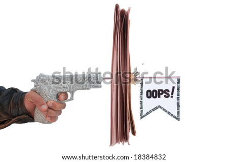 male hand with fire a shot newspaper pistol and flag with break newspaper on white background.fake oops - stock photo