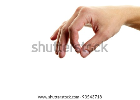 Male hand with forefinger and thumb put together - stock photo