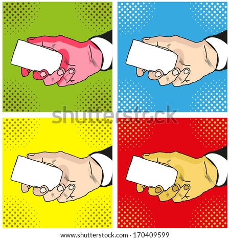 Male hand with  holding a card  - stock photo