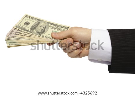 Male hand with money, on white background