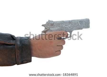 male hand with newspaper pistol on white background. fake - stock photo