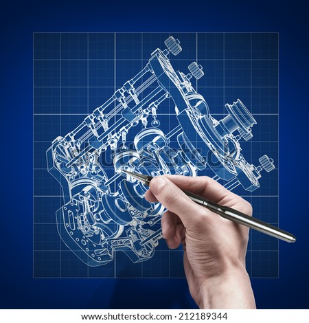 Male hand pen blueprint engineer working stock illustration male hand with pen blueprint engineer working on blue print concept v8 car engine cad malvernweather Choice Image