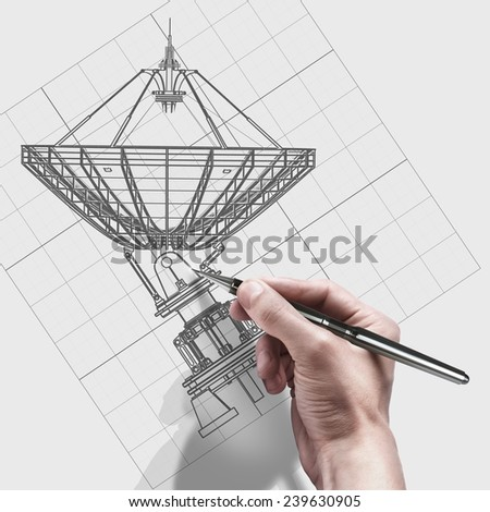 male hand with pen. engineer working on cad concept Satellite dishes antenna - Doppler radar.  - stock photo