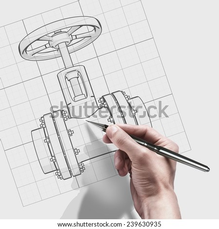 male hand with pen. engineer working on cad concept valve.  - stock photo