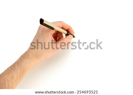 Male hand with pen isolated on white