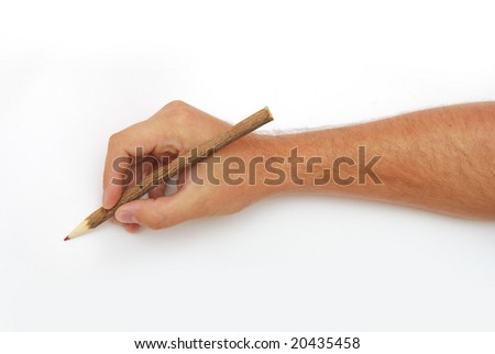 Male hand with red pencil over white background - stock photo