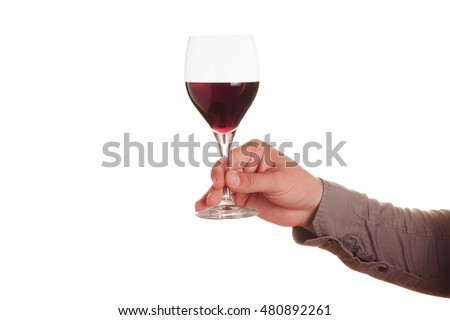 Male hand with red wine glass on a white background
