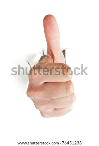 male hand with thumb up breaking through white background - stock photo