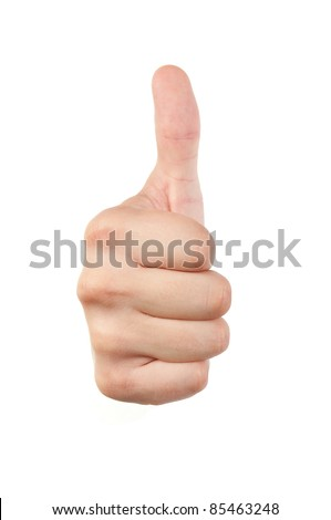 Male hand with thumb up isolated with white background - stock photo