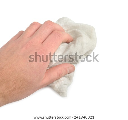 Male hand with washrag isolated over white background. Clipping path included. - stock photo