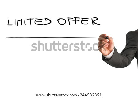 Male hand writing Limited offer on virtual whiteboard. Isolated over white background. - stock photo