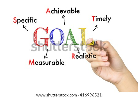 Male hand writing Smart Goal Setting - stock photo
