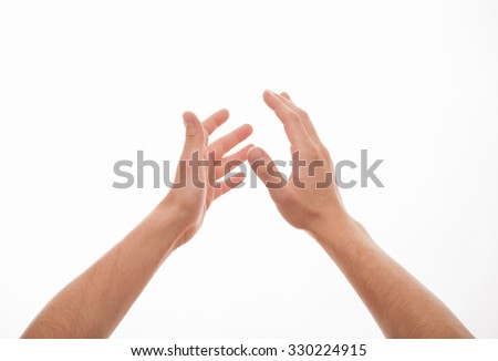 Male hands applauding, white background