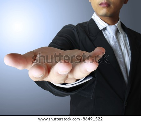 Male hands as if holding something - stock photo