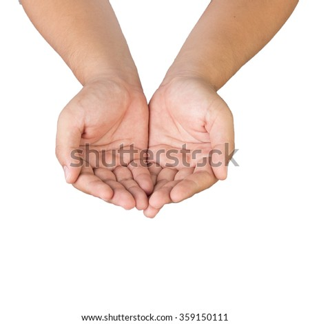 Male hands as if holding something isolated on white background