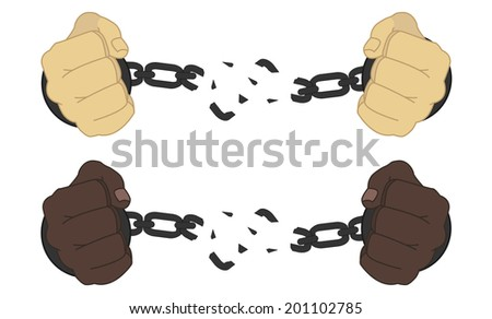 Male hands breaking steel handcuffs - stock photo