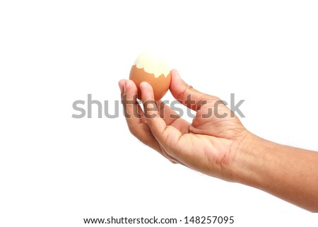 male hands bring egg isolated on white background
