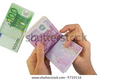 male hands counting 500 Euro banknotes with 100 Euro isolated on white