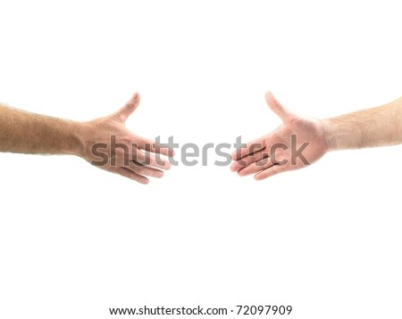 Male hands forming a handshake isolated against a white background