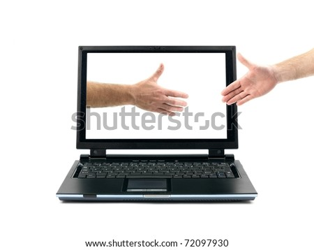 Male hands forming a handshake out of a laptop isolated against a white background