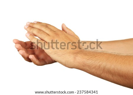 Male hands gesture applauded