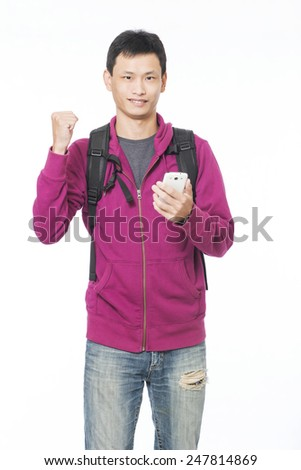 Male hands holding a smart phone - stock photo