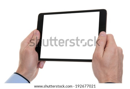male hands holding a tablet touch computer gadget. Isolated on white