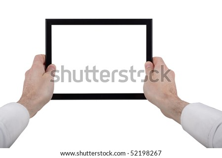 male hands holding a touchpad pc, isolated on white - stock photo