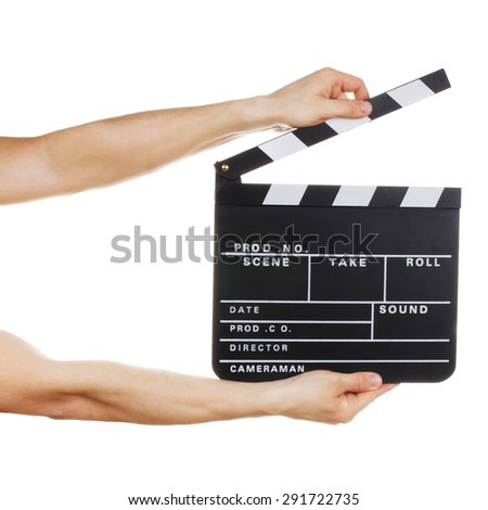 Male hands holding clapper board isolated on white background - stock photo