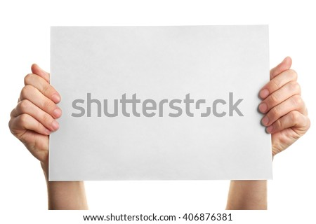 Male hands holding clean sheet of paper, isolated on white - stock photo
