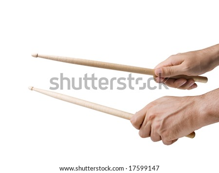 Male hands holding drum sticks isolated on white with clipping paths - stock photo