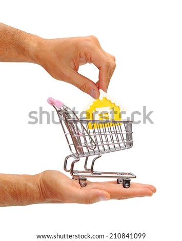 male hands holding house and trolley - stock photo