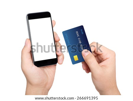 Male hands holding mobile phone with isolated screen and credit card - stock photo