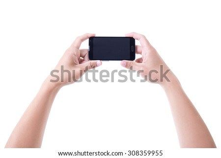 male hands holding mobile smart phone with blank screen isolated on white background - stock photo