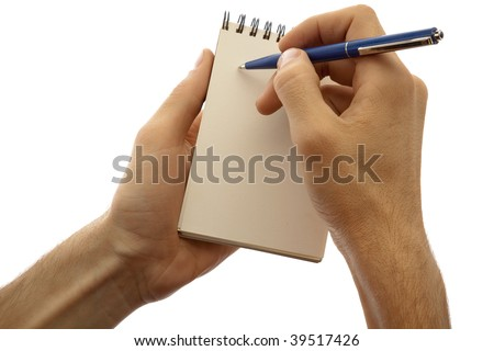 Male hands holding pad and pen isolated on a white background.