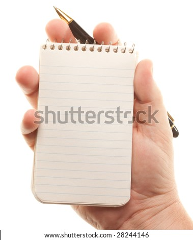 Male Hands Holding Pen and Pad of Paper Isolated on a White Background. - stock photo