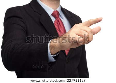 Male Hands In A Business Suit Giving The Touch On White Background