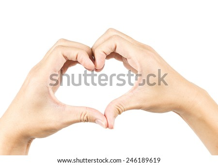 male hands in the form of heart isolated on white background