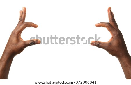 Male hands isolated on white