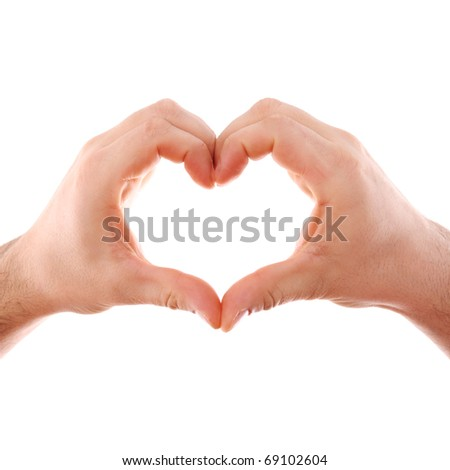 Male hands isolated on white with heart symbol